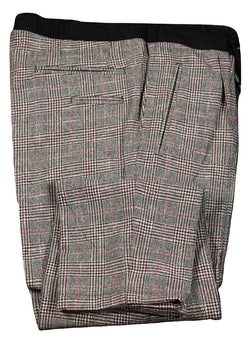 Vigano – Black & Red Prince of Wales Wool/Cashmere Pants w/Drawstring Waist