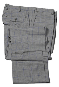 Vigano – Gray Four Season Wool Pants w/Navy Windowpane
