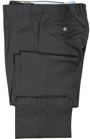 Covo by Vigano – Dark Charcoal Mid-Weight Wool Pants w/Single Pleat