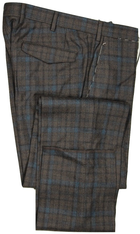 Vigano – Dark Brown & Blue Plaid Wool Flannel Pants
