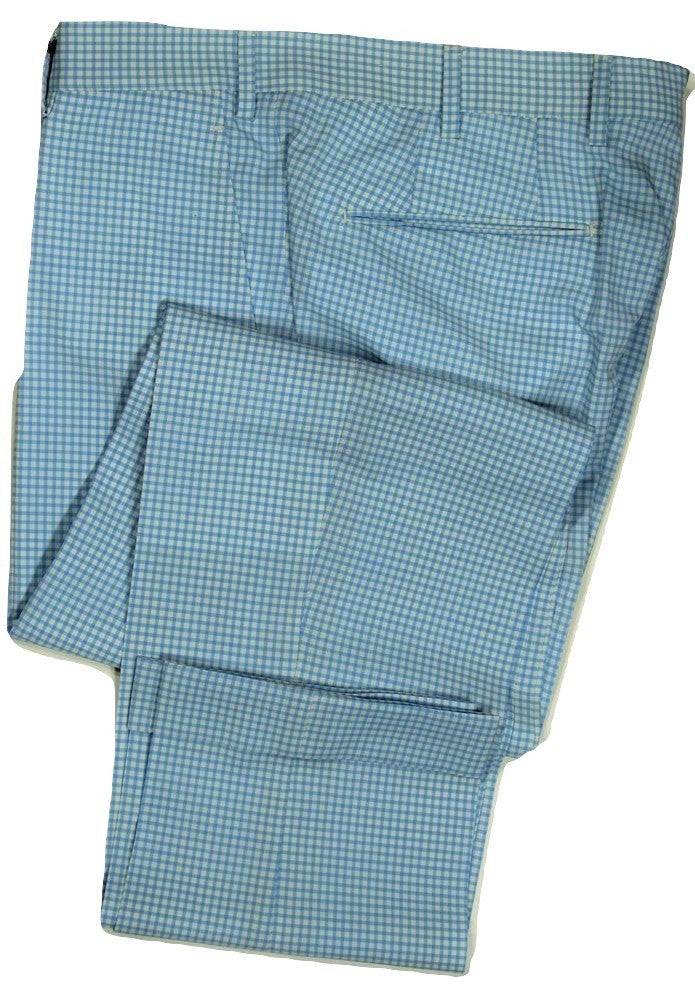Vigano – Light Blue & White Gingham Wool Pants