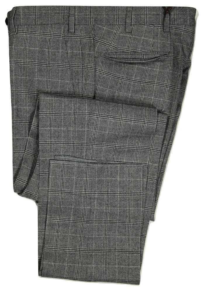 Vigano – Black, Gray & White Plaid Wool Pants