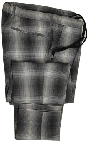 Vigano – Gray Ombre Plaid Crinkled Wool Pants w/Drawstring