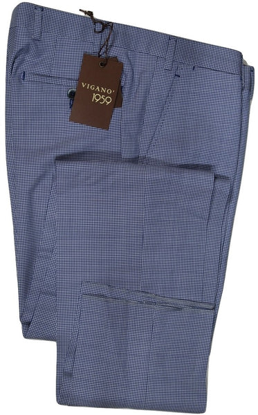 Vigano – Navy Gingham Check Wool/Mohair Pants