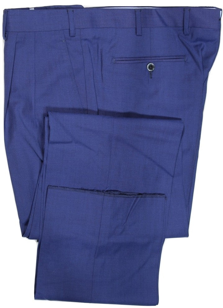 Covo by Vigano – Royal Blue Four-Season Wool Pants w/Pleat