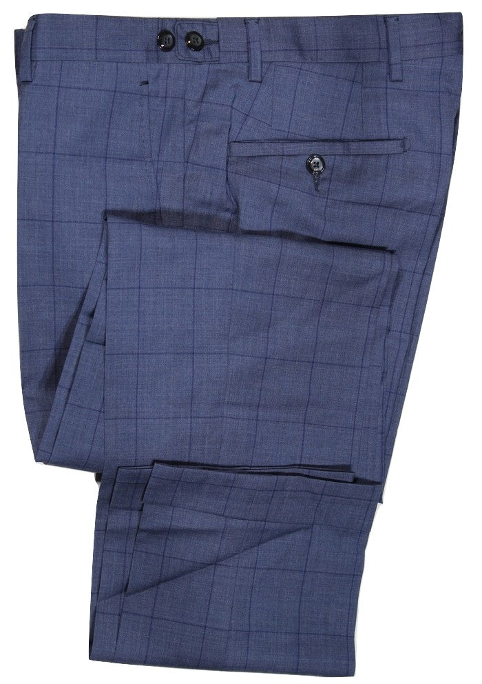 Vigano – Blue Wool Pants w/Navy Overcheck