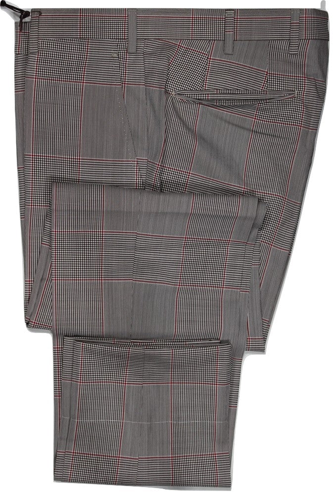 Vigano – Brown & Red Prince of Wales Four Season Wool Pants