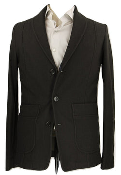 Royal Hem - Olive Wool Knit Shawl Collar Blazer - PEURIST