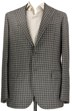 Royal Hem - Gray Plaid Wool Flannel Blazer - PEURIST