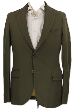 Royal Hem - Military Green Unstructured Wool Blazer - PEURIST