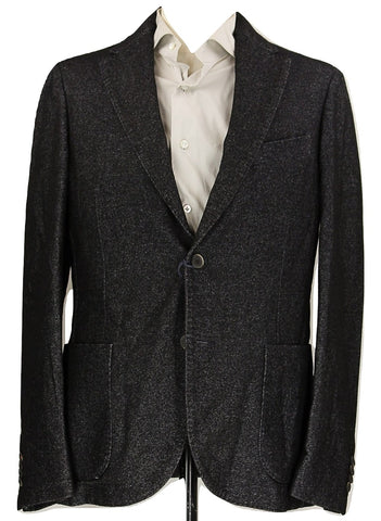 Royal Hem - Black & Gray Soft Wool/Cotton Blazer - PEURIST