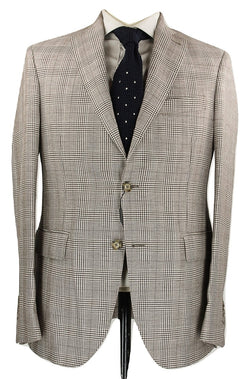Riscontro - Light Brown Prince of Wales Wool/Linen Blazer - PEURIST