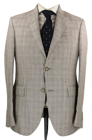 Riscontro - Light Brown Prince of Wales Wool/Linen Blazer