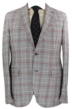 Riscontro - Navy & Red Plaid Linen/Cotton Washed Blazer - PEURIST