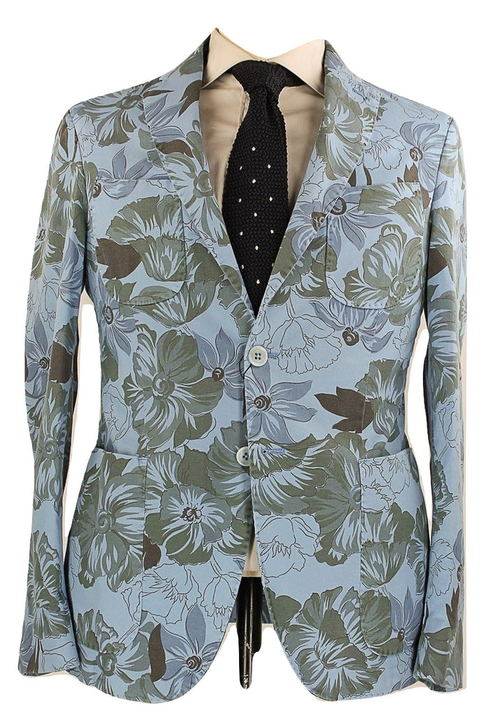 Riscontro - Blue Tropical Camo Print Cotton Blazer - PEURIST