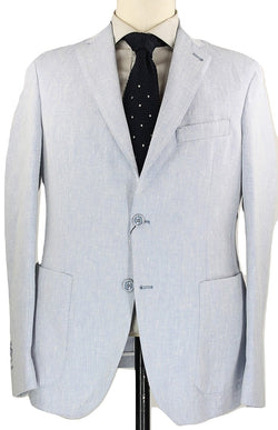 Riscontro - Light Blue Flecked Cotton/Linen Blazer - PEURIST