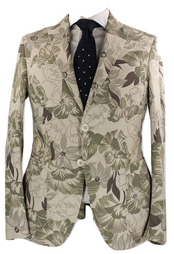 Riscontro - Tan Tropical Camo Print Cotton Blazer
