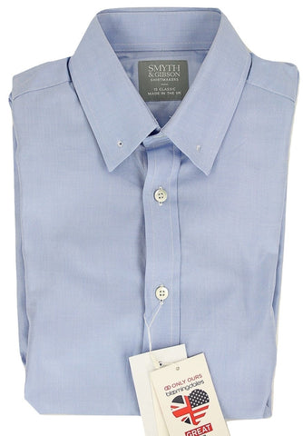 Smyth & Gibson - Blue Oxford Shirt w/Collar Bar Closure