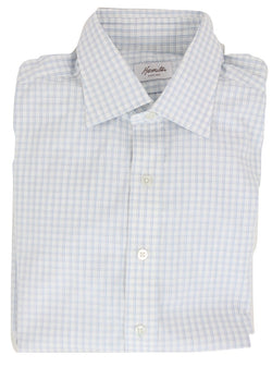 Hamilton - White Shirt w/Blue & Navy Plaid Pattern, French Cuff - PEURIST