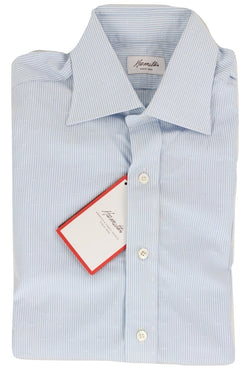 Hamilton - Light Blue Pinstripe Shirt w/Cross Stitch Pattern - PEURIST