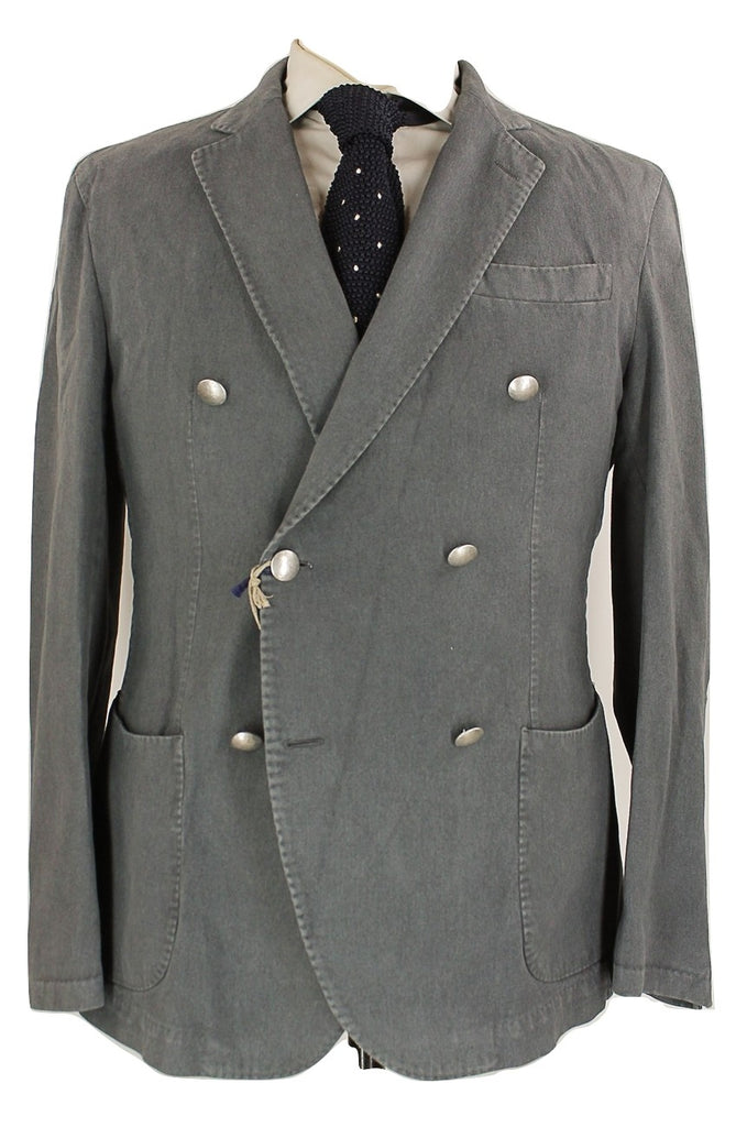 Fugato - Gray Cotton Moleskin Double Breasted Suit - PEURIST