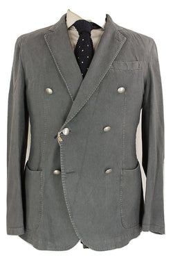 Fugato - Gray Cotton Moleskin Double Breasted Suit