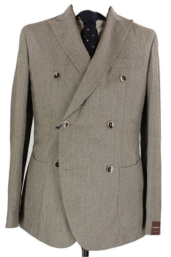Fugato - Brown Herringbone Wool Double Breasted Blazer