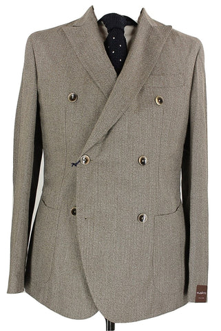Fugato - Brown Herringbone Wool Double Breasted Blazer - PEURIST