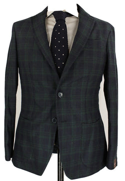 Fugato - Navy & Green Plaid Wool Flannel Blazer