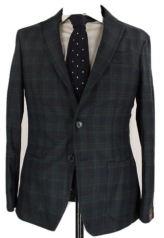Fugato - Navy & Green Plaid Wool Flannel Blazer - PEURIST