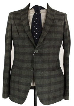 Fugato - Dark Green & Black Plaid Wool Flannel Blazer - PEURIST