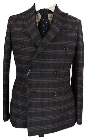 Fugato - Navy Tweed Double Breasted Blazer w/Orange Plaid Pattern - PEURIST