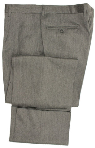 Equipage - Gray Worsted Wool Double-Pleated Pants