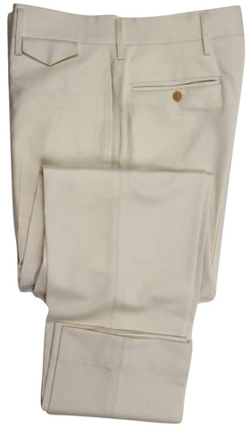 Equipage - Cream Super 120s Light Flannel Wool Pants - PEURIST
