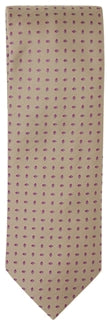 Brioni - Beige Silk Tie w/Red & Blue Mini-Teardrop Design - PEURIST