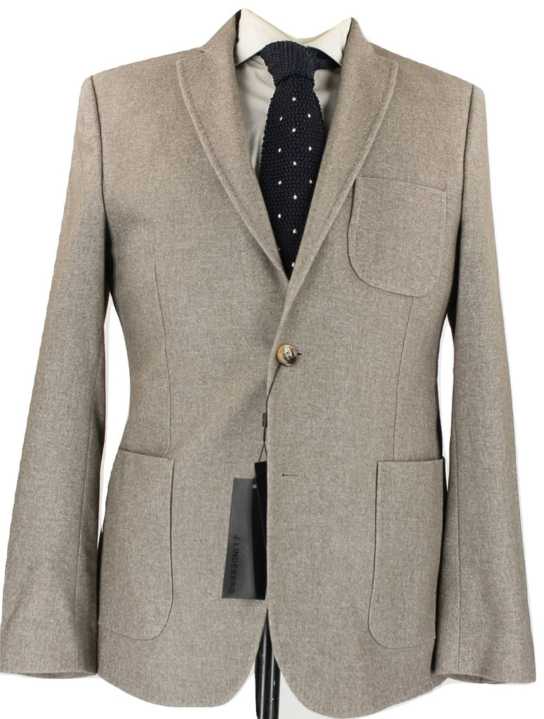 J. Lindeberg - Light Brown Wool Flannel Blazer - PEURIST