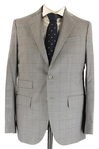 De Petrillo - Light Gray Windowpane Four-Season Wool Suit - PEURIST