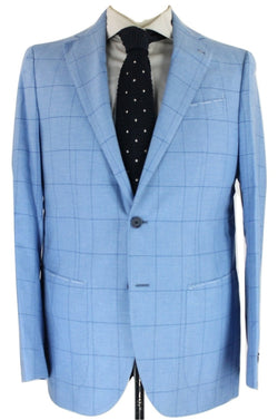 De Petrillo - Light Blue Windowpane Wool Blazer - PEURIST