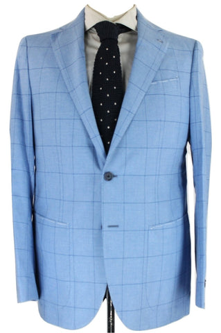 De Petrillo - Light Blue Windowpane Wool Blazer