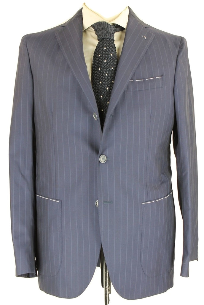 De Petrillo - Navy Pinstripe Four Season Wool Suit - PEURIST