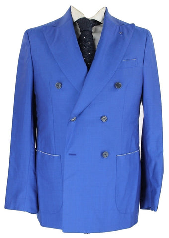 De Petrillo - Royal Blue Double Breasted Wool Suit - PEURIST