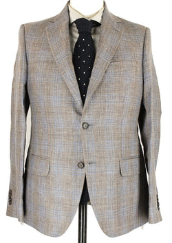 Antonio Fusco - Brown & Blue Plaid Wool/Linen Blazer - PEURIST