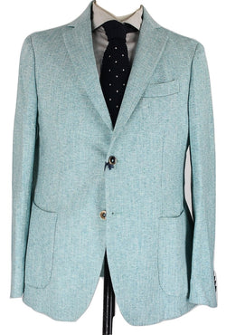 Daniele Papa - Green Herringbone Washed Linen/Cotton Blazer - PEURIST