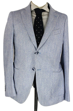 Daniele Papa - Blue Herringbone Washed Linen/Cotton Blazer - PEURIST