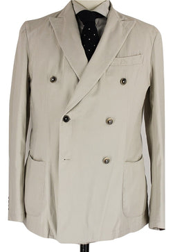 Fugato - Off-White Washed Cotton Double Breasted Blazer - PEURIST