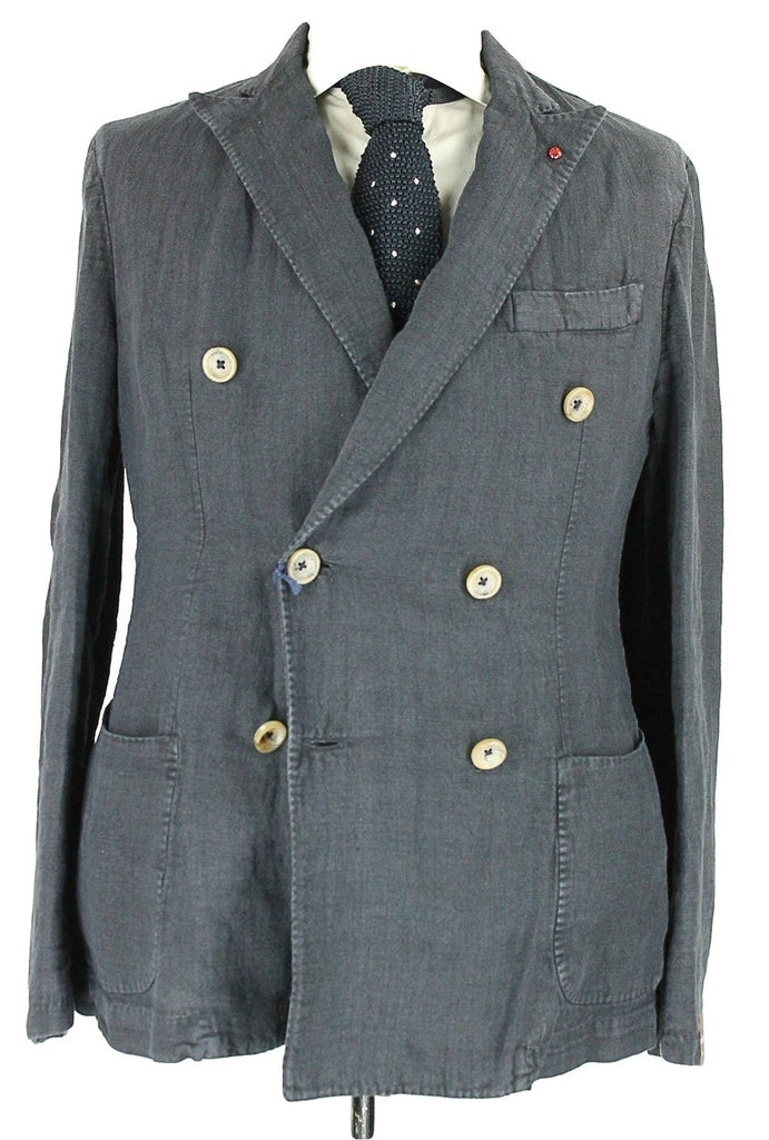 Fugato - Navy Washed Linen Double Breasted Blazer - PEURIST