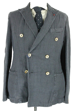 Fugato - Navy Washed Linen Double Breasted Blazer