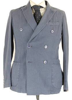 Fugato - Navy Washed Cotton Double Breasted Blazer - PEURIST