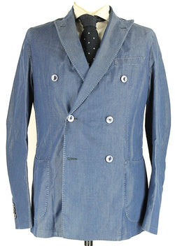 Daniele Papa - Navy Chambray Cotton Double-Breasted Blazer - PEURIST