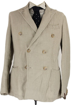 Fugato - Light Brown Washed Linen Double-Breasted Blazer